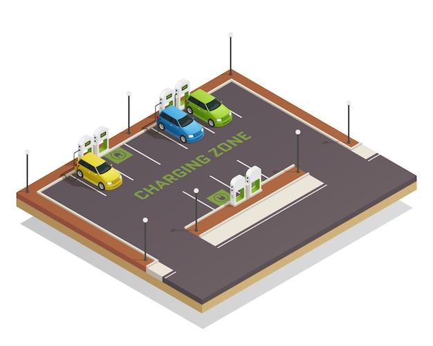 Ricarica di veicoli elettrici isometrici di ecologia Vettore gratuito