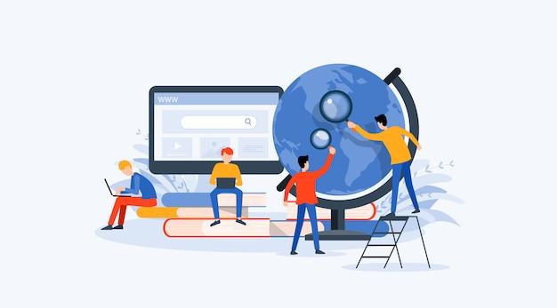 Ricerca aziendale, apprendimento e concetto di educazione online Vettore Premium