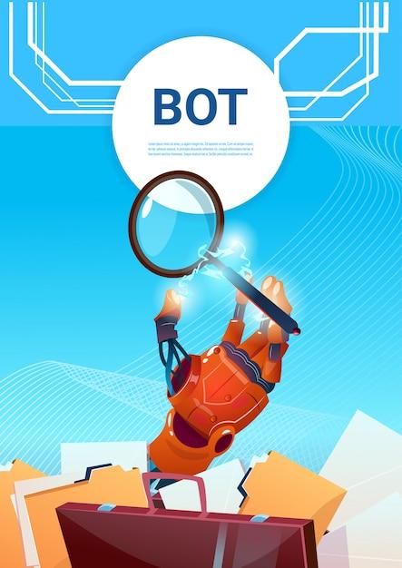 Ricerca chat su chat robot assistenza virtuale su sito web o applicazioni mobili, intelligenza artificiale Vettore Premium
