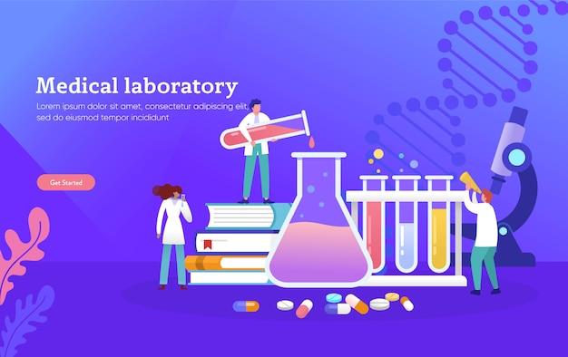 Ricerca del laboratorio medico con il concetto dell'illustrazione di vettore del tubo di vetro di scienza Vettore Premium