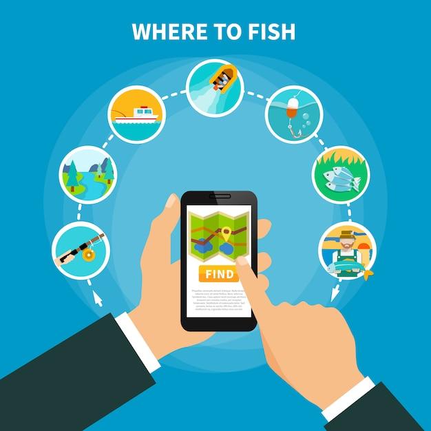 Ricerca della zona di pesca Vettore gratuito