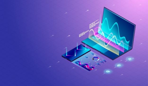 Ricerca di marketing aziendale sul laptop Vettore Premium
