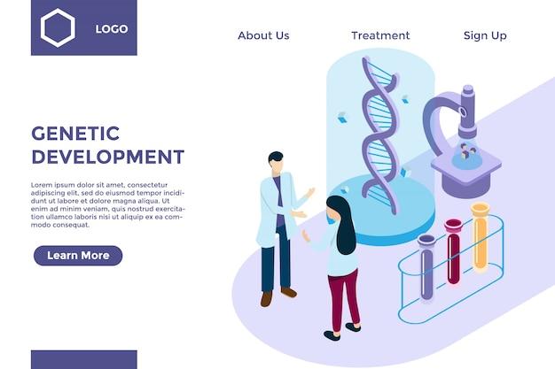 Ricerca genetica con elica di dna nello stile di illustrazione isometrica, sviluppo della biotecnologia Vettore Premium