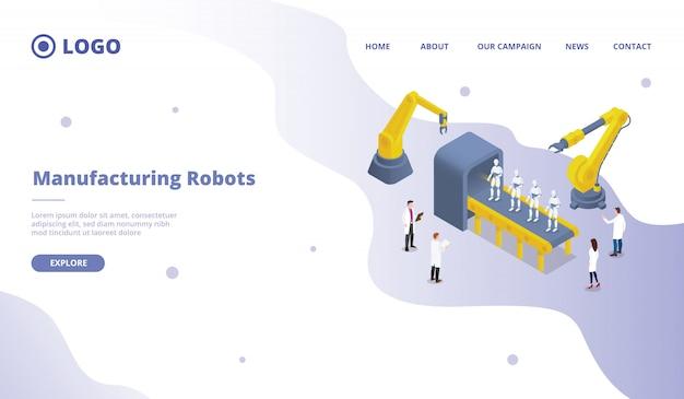 Ricerche di massa e massicce sullo sviluppo della produzione di robot per il modello di sito web o sito di atterraggio Vettore Premium