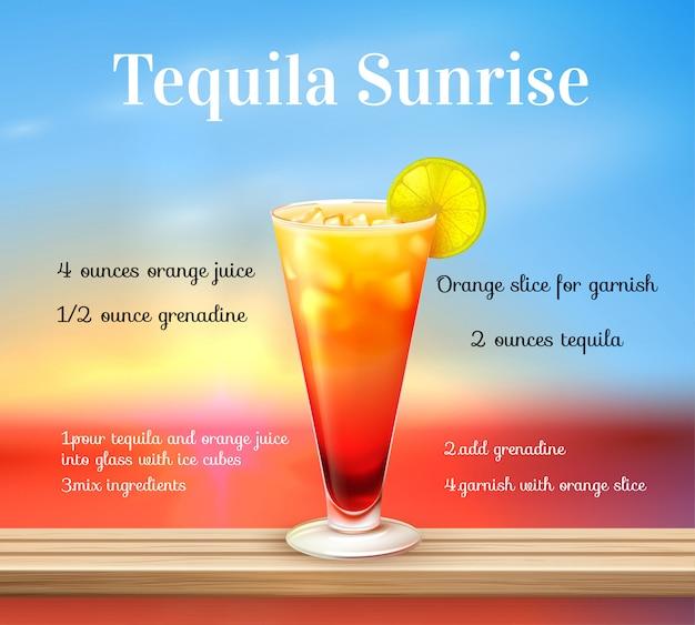 Ricetta cocktail alba tequila Vettore gratuito