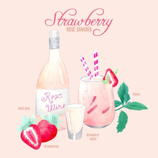Ricetta del cocktail della sangria della rosa della fragola Vettore gratuito