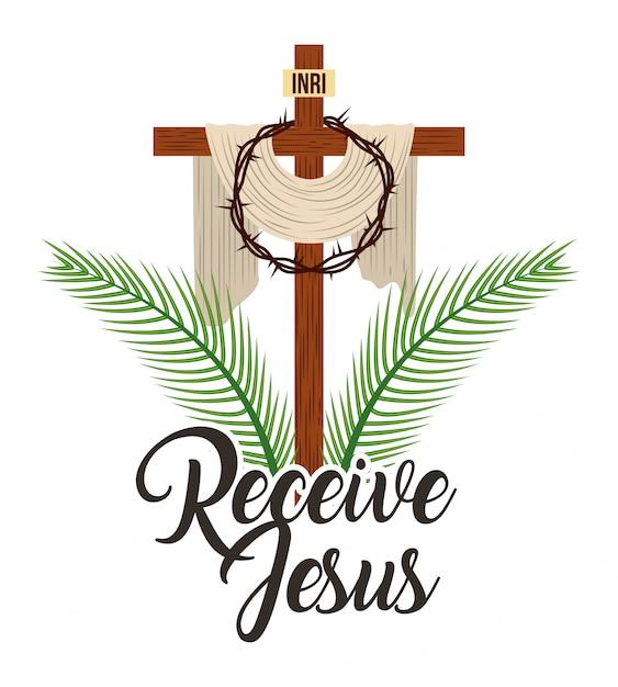 Ricevere la croce sacra di gesù e le spine della corona Vettore Premium