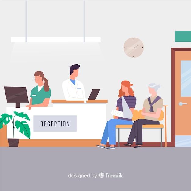Ricevimento ospedaliero con design piatto Vettore gratuito