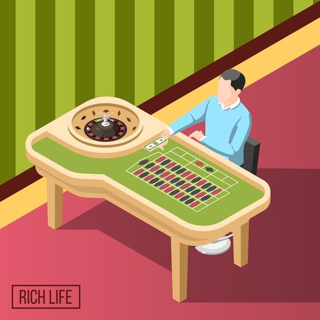 Rich man in casino isometrico sfondo Vettore gratuito
