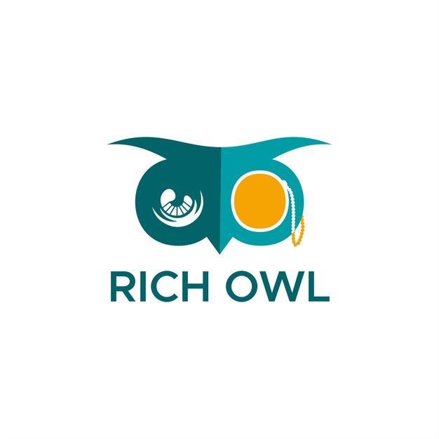 Rich owl logo Vettore Premium