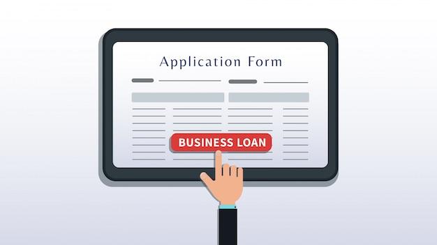 Richiedi il prestito per le piccole imprese, il modulo di domanda sullo schermo del tablet o dello smartphone con il pulsante di scatto a mano isolato su bianco Vettore Premium