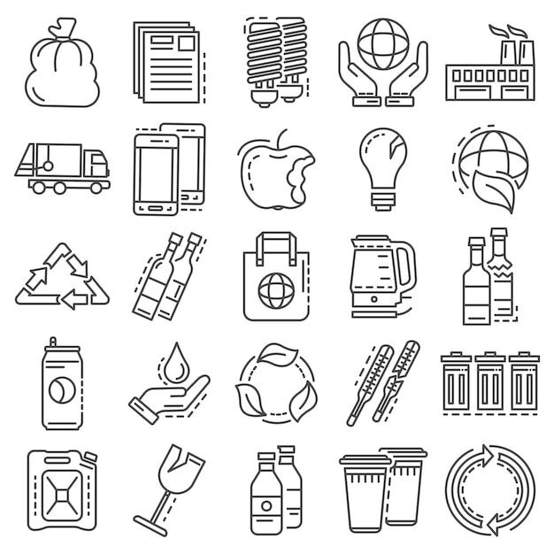 Ricicla il set di icone. l'insieme del profilo di ricicla le icone di vettore Vettore Premium
