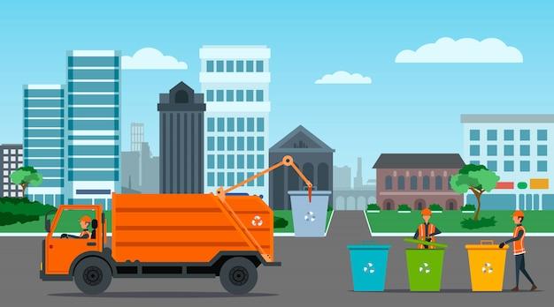 Riciclaggio dei rifiuti della città con l'illustrazione del camion di immondizia Vettore Premium