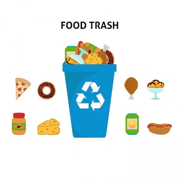 Ricicli l'insieme dell'illustrazione dei rifiuti dell'alimento Vettore Premium
