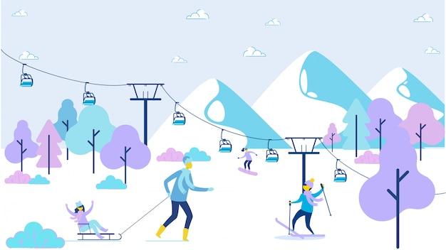 Ricreazione felice della famiglia del fumetto a ski resort Vettore Premium