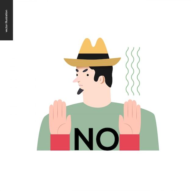 Rifiutando l'uomo con un cappello Vettore Premium
