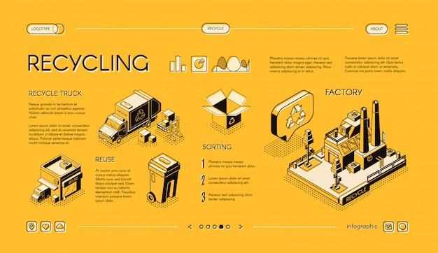 Rifiuti di riciclaggio banner web isometrico vettoriale, presentazione infografica diapositiva. Vettore gratuito