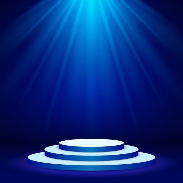 Riflettore di scena illuminato podio scena con illuminazione blu Vettore Premium