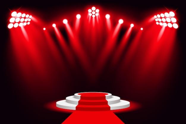 Riflettore rosso del podio della luce della fase con tappeto rosso Vettore Premium