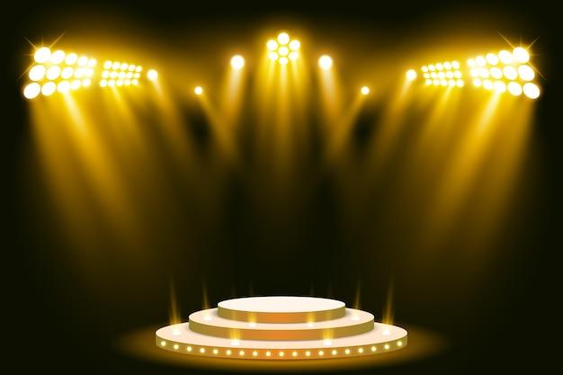 Riflettore scena scena podio illuminato Vettore Premium