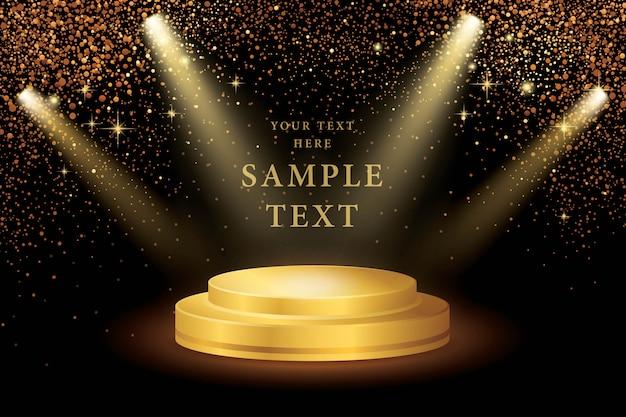 Riflettori sul palco e gold glitter vector Vettore Premium