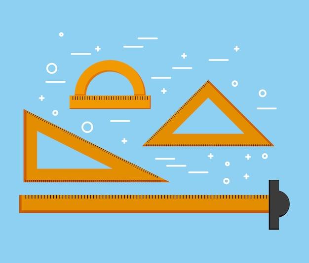 Righello di design t triangoli quadrati e forniture di goniometro Vettore Premium