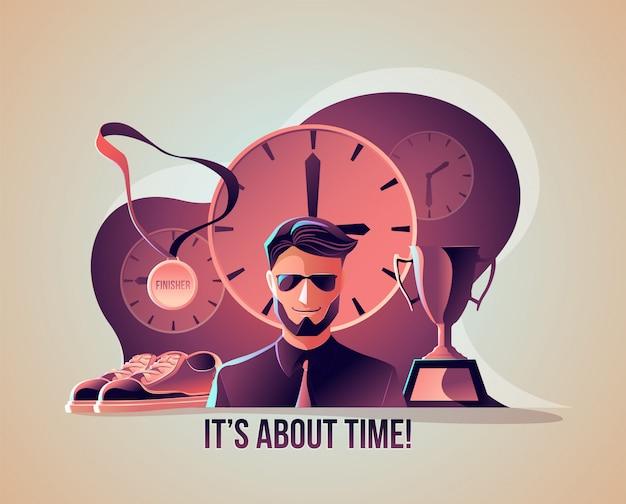Riguarda l'illustrazione del tempo Vettore Premium
