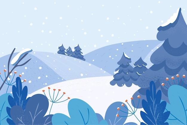 Rilassante paesaggio invernale piatto Vettore gratuito