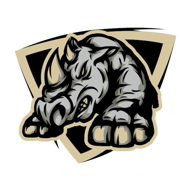 Rinoceronte arrabbiato pronto per combattere Vettore Premium