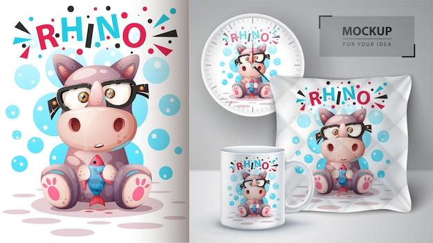 Rinoceronte carino con illustrazione di pesce per tazza, orologio e cuscino. Vettore Premium