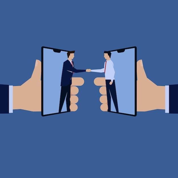 Rinvio della ricompensa della telefonia mobile online della mano dell'uomo d'affari. Vettore Premium