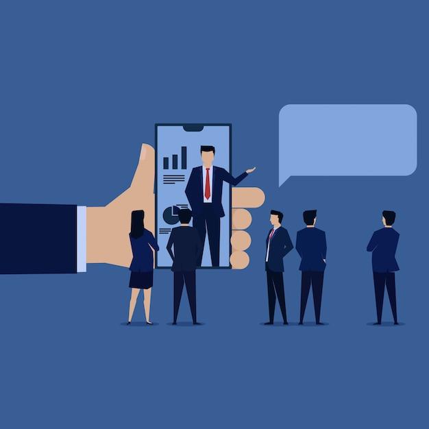 Rinvio della ricompensa online di presentazione di uomo d'affari. Vettore Premium