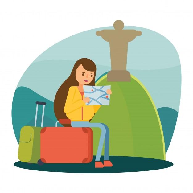 rio de janeiro statua di jesus viaggiare vacanza personaggio dei cartoni animati Vettore Premium