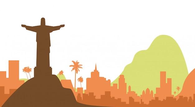 Rio silhouette visualizza la statua di gesù Vettore Premium