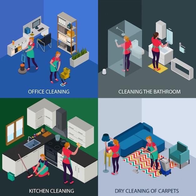 Riordino professionale del lavaggio a secco dell'appartamento e dell'ufficio del concetto isometrico dei tappeti isolato Vettore gratuito