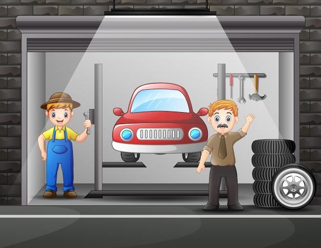 Riparazione auto officina con elementi e lavoratore uomo Vettore Premium