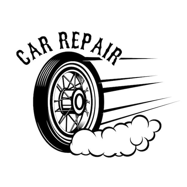 Riparazione auto. ruota con linee di velocità. elemento per logo, etichetta, emblema, segno. illustrazione Vettore Premium