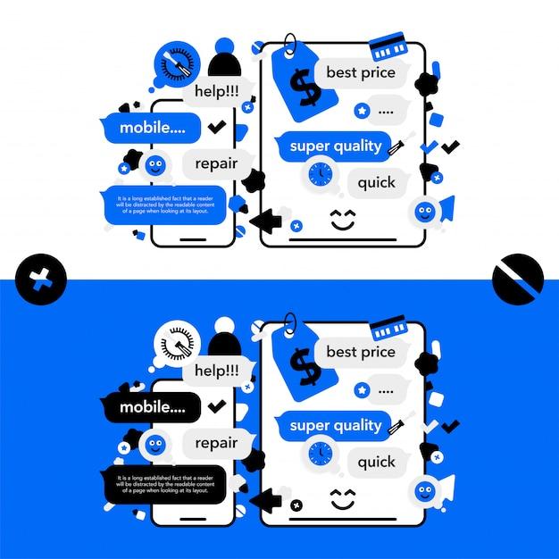 Riparazione di telefoni cellulari e servizio tecnico elettronico Vettore Premium