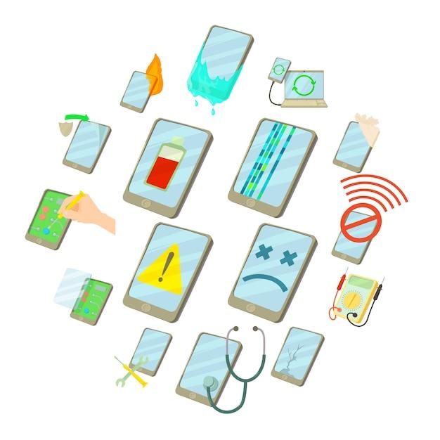 Ripari i telefoni riparano le icone messe, stile del fumetto Vettore Premium