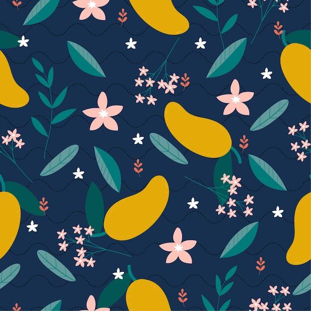 Ripetizione di fiori di mango e varietà Vettore Premium