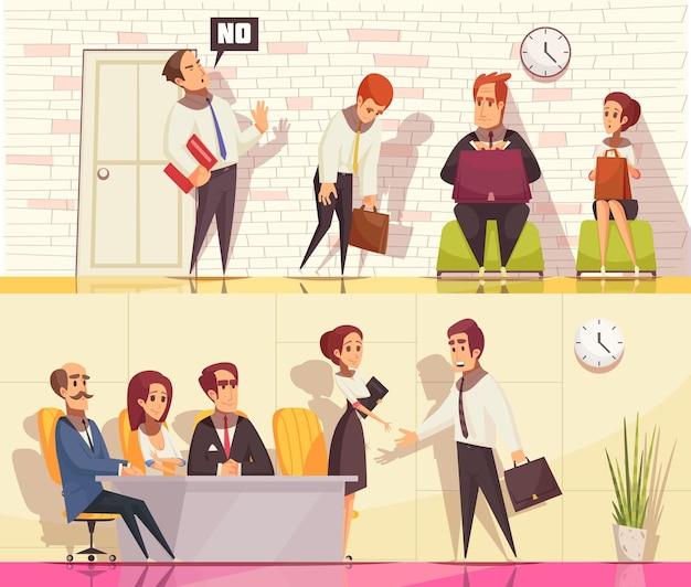 Riprendi a reclutare la collezione di banner orizzontali con personaggi umani piatti durante il colloquio di lavoro con elementi interni da interno Vettore gratuito