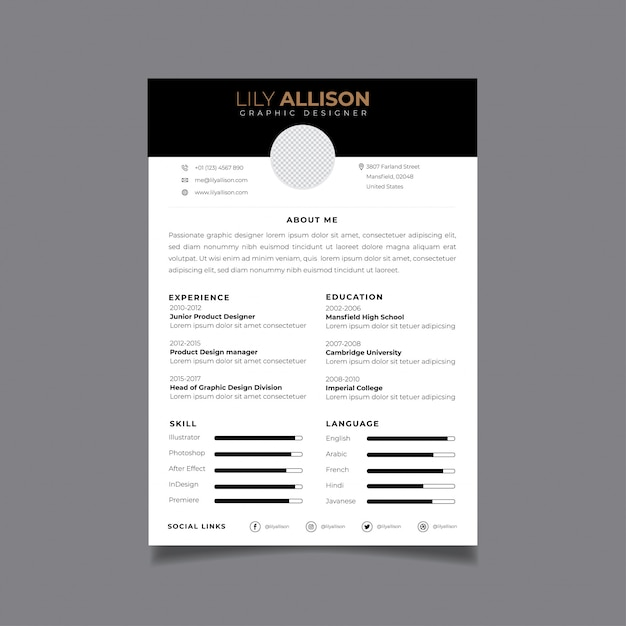 Riprendi il modello di progettazione minimalista cv Vettore Premium
