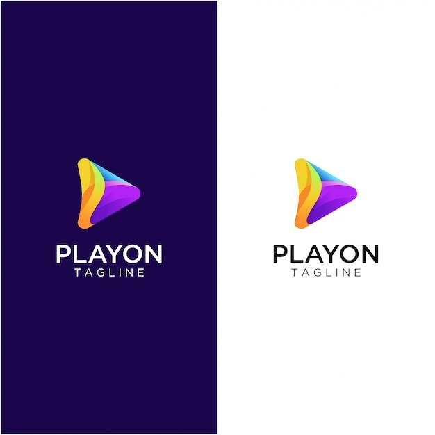 Riproduci logo multimediale Vettore Premium