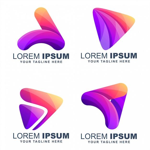 Riproduci media colorati loghi disegni vettoriali Vettore Premium