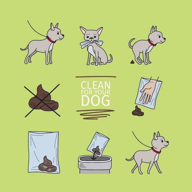 Ripulire dopo l'illustrazione vettoriale di cane informazioni Vettore Premium