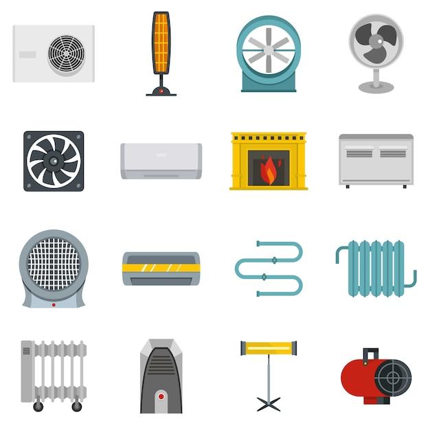 Riscaldamento aria icone di raffreddamento impostato in stile piano Vettore Premium