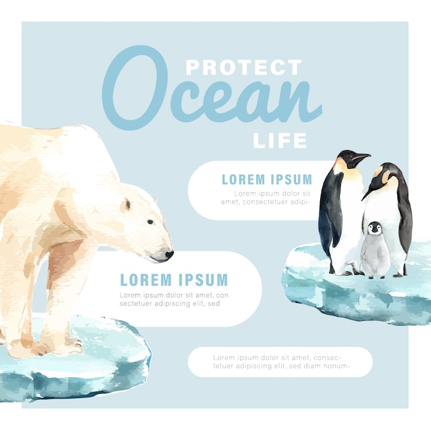 Riscaldamento globale e inquinamento. campagna pubblicitaria brochure flyer poster, salva il modello del mondo Vettore gratuito