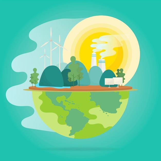 Riscaldamento globale effetto ambientale conservazione vettoriale Vettore gratuito