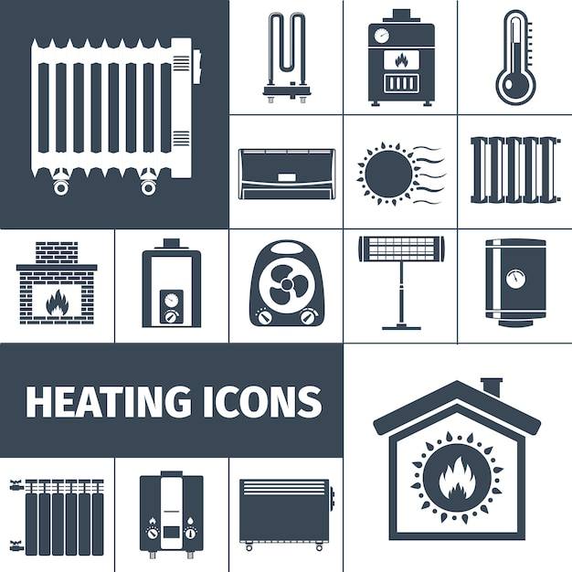 Riscaldamento icon set Vettore gratuito