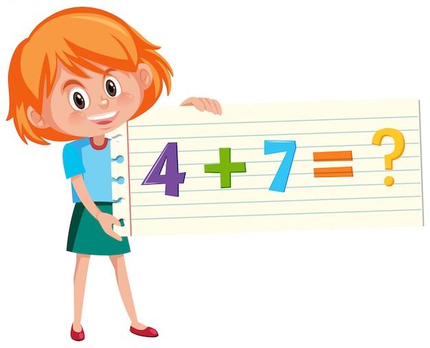 Risolvi la domanda di aggiunta di matematica Vettore Premium
